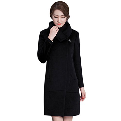 Homedecoam Damen Winter Warm Woll Mantel Jacket Schwarz