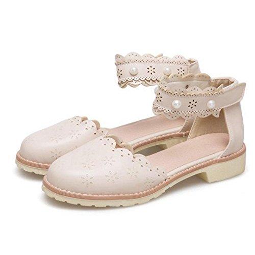 Toe Women Sandals Sweet TAOFFEN Beige Closed A8qdIt