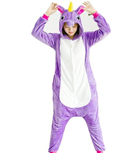 Purple Leisure Suit Adult Costumes (Tricandide Adult Halloween Costume Cosplay Pajamas Animal Costume Onesie Homewear LoungeWear Purple Pegasus XL)