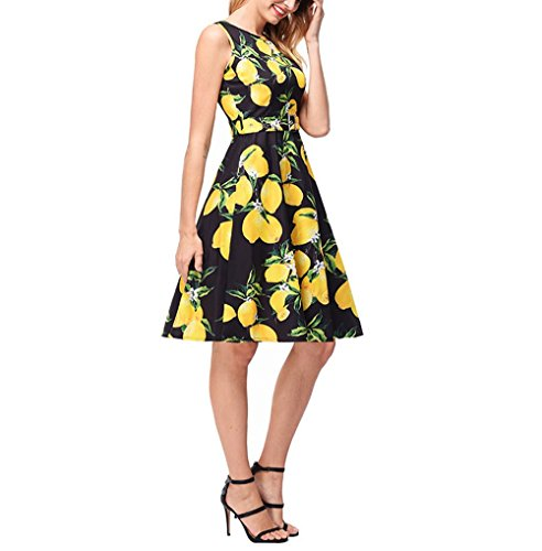 50 Printed s Sleeveless Black Vintage Elegant SYGoodBUY Dresses Dress Belt Ceremony Dress 123 Short s with Cocktail Women wSqYFFv