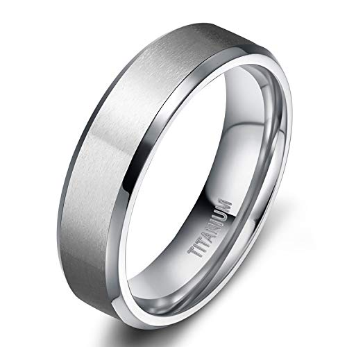 TIGRADE 6mm Unisex Titanium Ring Flat Matte Brushed Beveled Edge Wedding Band Comfort Fit Size 4-13 (Titanium, 7.5)