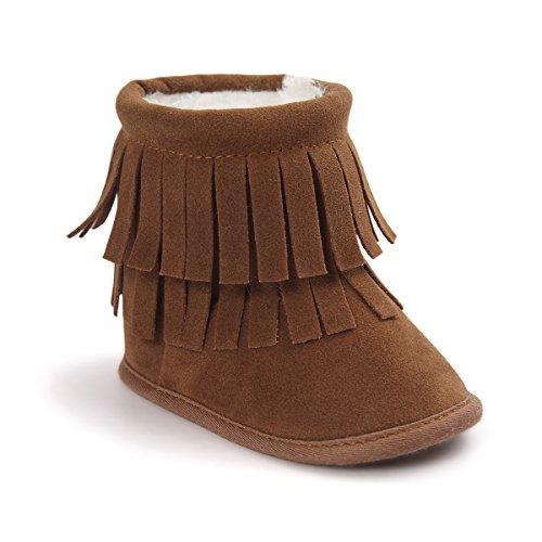 Kuner Baby Boys Girls Tassel Plush Soft Bottom Moccasins Infant Prewalker Toddler Outdoor Warm Snow Boots (13cm(12-18months), Brown) ()