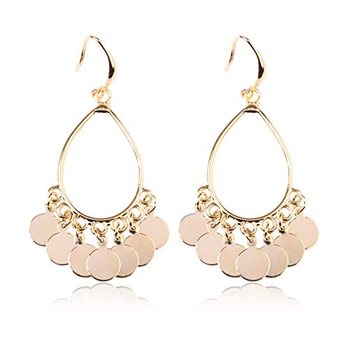 RIAH FASHION Bohemian Coin Dangle Chandelier Earrings - Lightweight Gypsy Filigree Hoops with Disc Charms (Gypsy Dangle 4 - Gold)