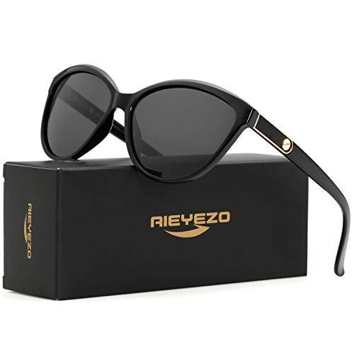 Cat Eye Polarized Sunglasses for Women Personality Inlaid Leather Luxury Brand Sun Glasses -100% UV Blocking (Black/Grey)