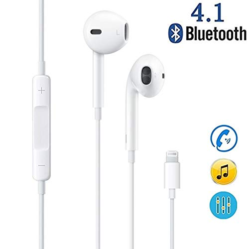 ebasy Lighting Headphones/Earphones/Earbuds, Wired Noise Isolating Earphones with Built-in Microphone & Volume Control Compatible with iPhone 7/7 Plus 8/8 Plus/X / Xs/XS Max -White