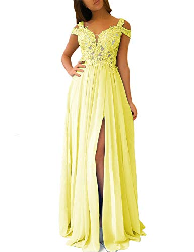 Women's Lace Appliqued Evening Gowns Side Split A-line Prom Dresses Long (Yellow, 16)