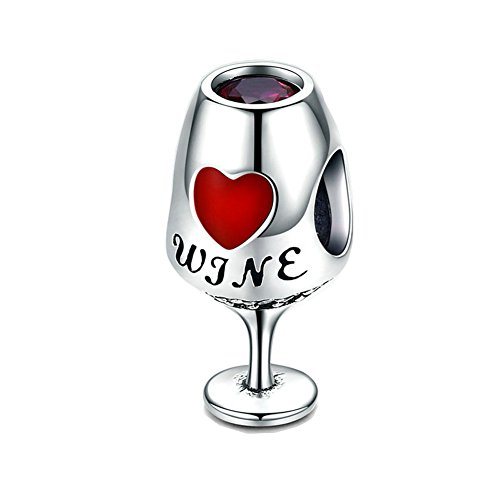Beauty Goblet Charm 925 Sterling Silver Red Wine Cup Bead for Bracelet or ()