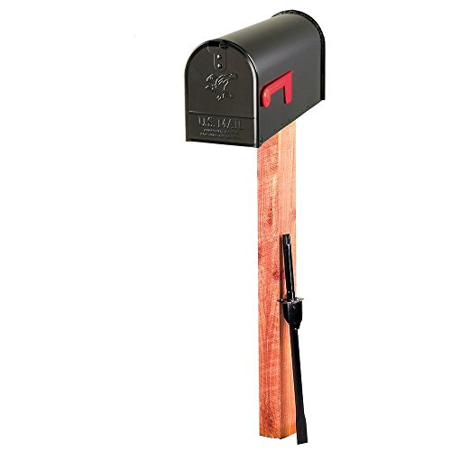 Horse Residential Post Mount (Evans Elite Steel Mailbox and Cedar Post Combo in Black)