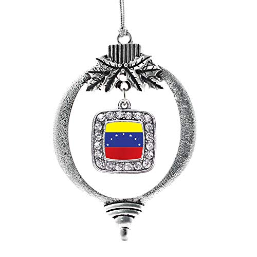 Inspired Silver - Venezuela Flag Charm Ornament - Silver Square Charm Holiday Ornaments with Cubic Zirconia Jewelry (Venezuela Christmas Ornaments)