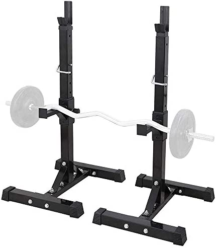 Smartxchoices Pair of 2 Squat Racks Barbell Dumbbell Stand Weight Rack 41 – 66 Height Adjustable Steel Bar Holder Storage Rack Home Gym Fitness,Black