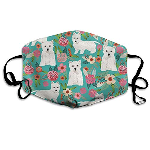 NaENen Westie Florals Cute Dog Anti Dust Half Face Mouth Cover Mask Respirator - Dustproof Anti-Bacterial Washable- Protective Breath Health Safety Windproof