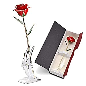 ABEDOE Long Stem 24k Gold Rose Flower in Box, Best Romantic Gift for Anniversary, Thanks Giving Day, Valentine's Day, Mother's Day, Birthday Gift (Red)