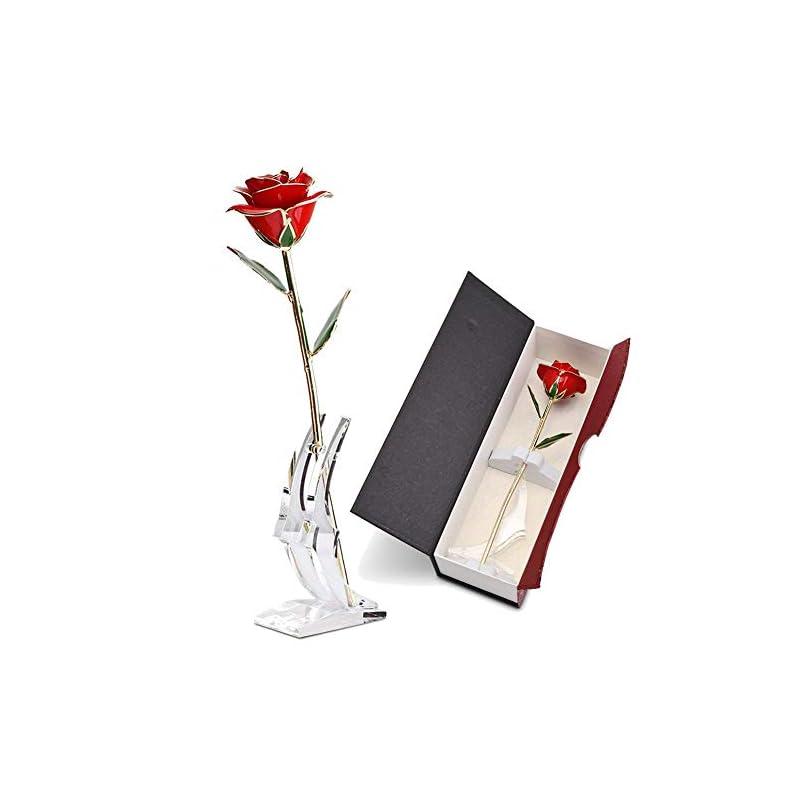 silk flower arrangements abedoe long stem 24k gold rose flower in box, best romantic gift for anniversary, thanks giving day, valentine's day, mother's day, birthday gift (red)