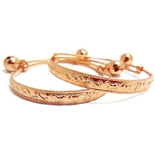 Zodiac 23k 24k Thai Baht Pink Rose Gold Plated Anklet Baby Set Bell ()