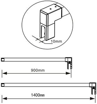 90cm aleación de zinc sin marco puerta fijo mampara de ducha barra ...