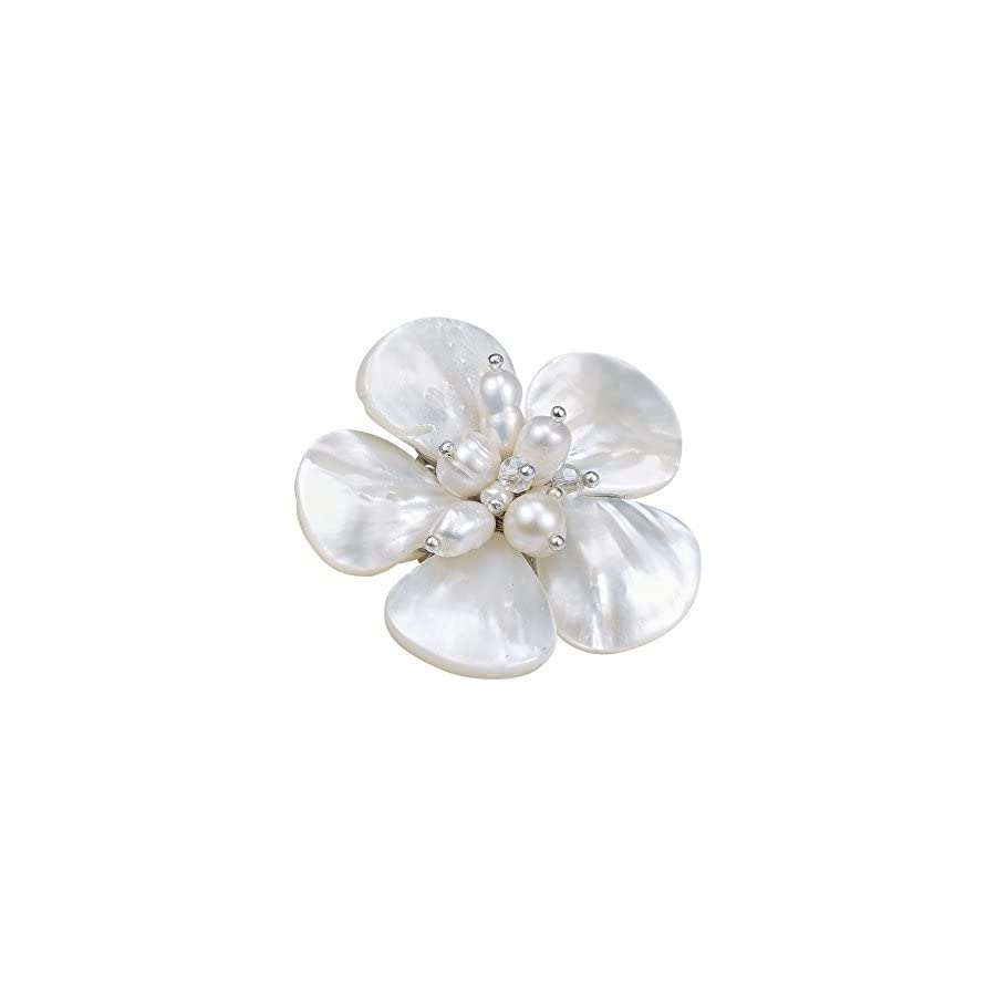 AeraVida White MOP Cultured FW Pearl Fashion Crystals Floral Stainless Steel Pin Brooch
