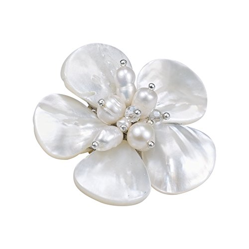 White MOP Cultured FW Pearl Fashion Crystals Floral Stainless Steel Pin Brooch