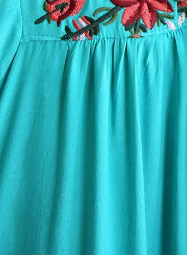 4 Teal Dsinvolte Chemisiers Broderie Fleur Cou Femme Fashion Manches Tunique 3 Boho Fleur Et breal Shirt Vintage Large Haut Elgante Ethnique BIRAN Style V OFwqUgUx