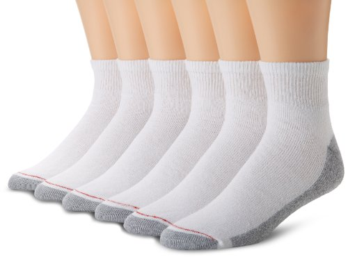 Hanes Men's 6 Pack FreshIQ Full Cushion Ankle Socks, White, 10-13 (Shoe Size 6-12)