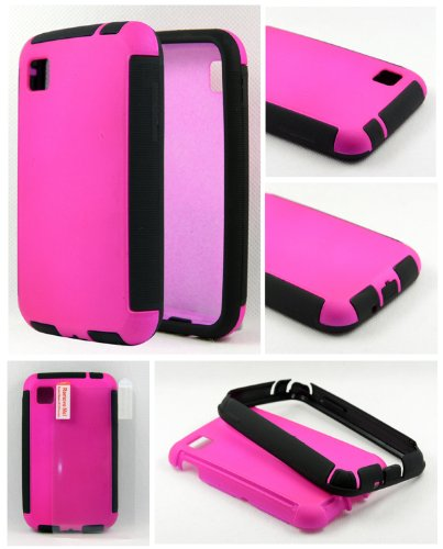 Thousand Eight (TM) For LG Optimus Dynamic II L39C Durable Full Body Protection Hybrid Case with Built-In Screen Protector + [FREE Touch Screen Stylus] (Wrap up Pink) (Lg Optimus Dynamic Ii Cases compare prices)
