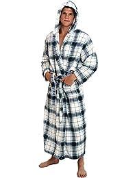 Mens Fleece Robe, Long Hooded Bathrobe