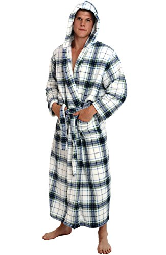 Robe Blue Hooded (Alexander Del Rossa Mens Fleece Robe, Long Hooded Bathrobe, Large XL Blue on White Plaid (A0125P06XL))