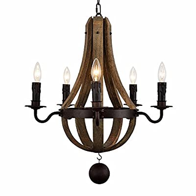 "AYUUU 5-Light Vintage Rust Iron Wood Chandelier Lighting Large Diamater 22"" Wine Barrel Stave Reclaimed Antique Wood & Rust Chandelier with Candle Holder Pendant Ceiling Lamp for Living Room Bedroom"