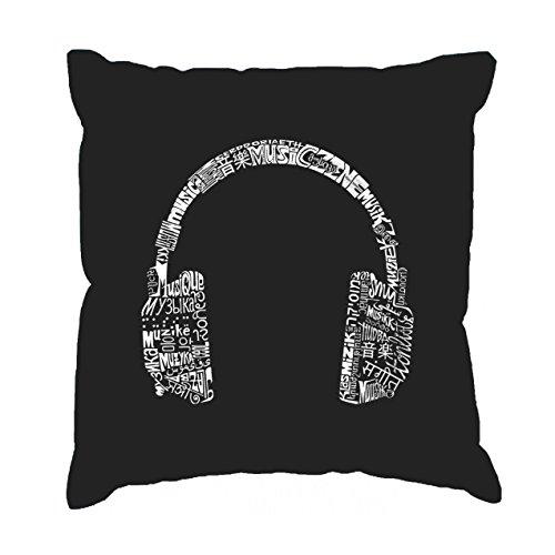 - Word Art Throw Pillow Cover - Headphones - Languages Black