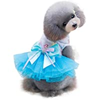 Pet Puppy Clothes,FUNIC Adorable Dog Dress Puppy Grid Skirt Apparel for Small Medium Pets (Medium, Blue)