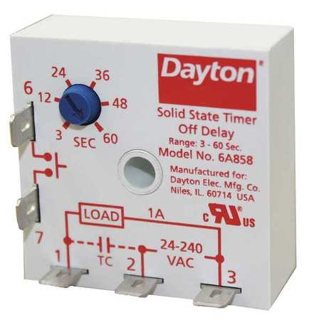 Encapsulated Timer Relay, 1A, Solid State by Dayton