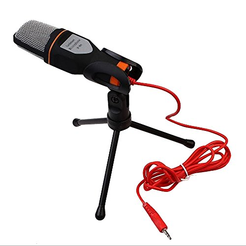 Generic Stereo Microphon Wired Mic with 2.0m Cable + Tripod for QQ, MSN, Skype, Most Computer and PC Laptop, Camcorder, Conference, KTV, Stage, Recording, Karaoke Singing, Voice Chatting - Silver (Tabletop Webcam compare prices)