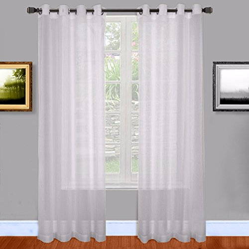 Warm Home Designs Silver Sheer Window Curtains with Grommet Top for Bedroom, Kitchen, Kids Room or Living Room, 2 Voile Panel Drapes