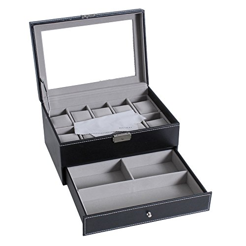 Watch Box for Men,10 Watch Display Organizer with PU Leather Jewelry Display Case with - Sunglass Storage Solution