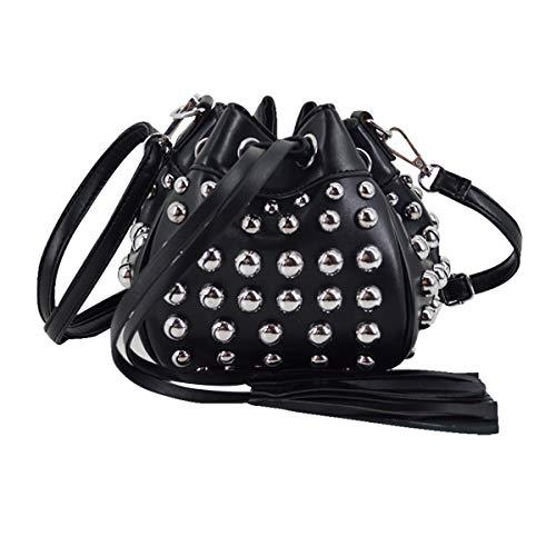 (Goodbag Boutique Women Fashion Punk Rivet Bucket Bag Tassel Drawstring Crossbody Bag Mini Shoulder Bag)