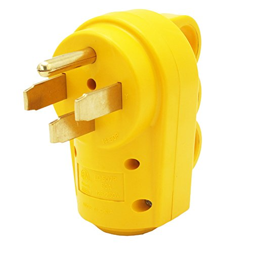 X-Haibei RV 50A Replacement Plug Yellow 125V,250V Male 6AWG+ 8AWG Connector Heavy Duty Handle
