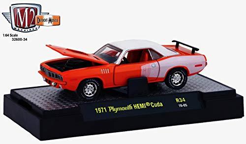 - M2 Machines 1971 Plymouth HEMI Cuda (HEMI Orange) - Detroit Muscle Release 34 2016 Castline Premium Edition 1:64 Scale Die-Cast Vehicle (R34 16-05)