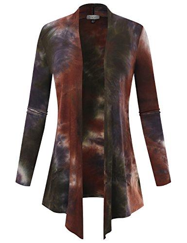 BIADANI Women Open Front Lightweight Cardigan Multicolor Print Olive/Purple Small ()