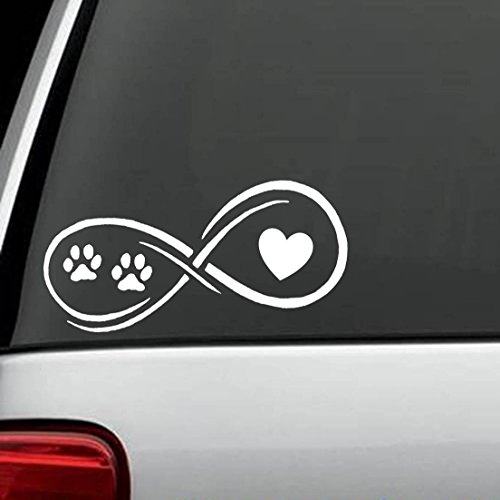 D1108 Infinity Paws Heart Dog or Cat Decal Sticker