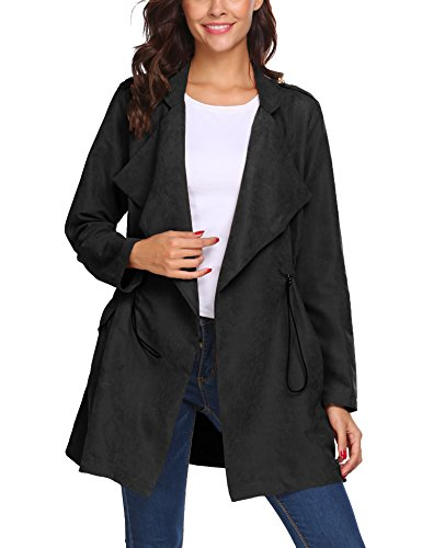 Beyove Women's Oversized Waterfall Belted Kim Kardashian Jacket Trench Coat Black XXL