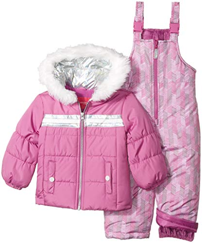 - London Fog Girls' Little Snowsuit with Snowbib and Puffer Jacket, Pink/Purple Blossom, 4