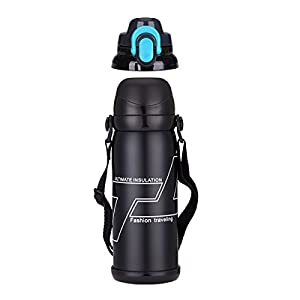 Garrede Stainless Steel Insulated Water Bottle 28oz Double Wall Design with Double Lids - Hot/Cold Preservation - BONUS A Cleaning Brush (Black)