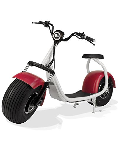 PHAT SCOOTERS - Phatty Sport Fat Tire Electric Scooter 1200 Watt Motor 72V 12Ah Battery - Matte White Frame - Matte Red Metallic Fenders - Black Deck by PHAT SCOOTERS