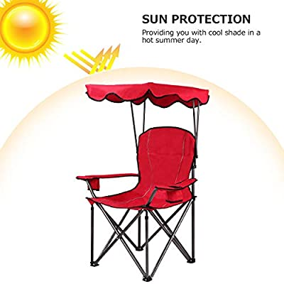 Goplus Outdoor Canopy Chair, Heavy Duty Camping Chair Durable Folding Seat w/Cup Holder and Carry Bag (Red): Kitchen & Dining