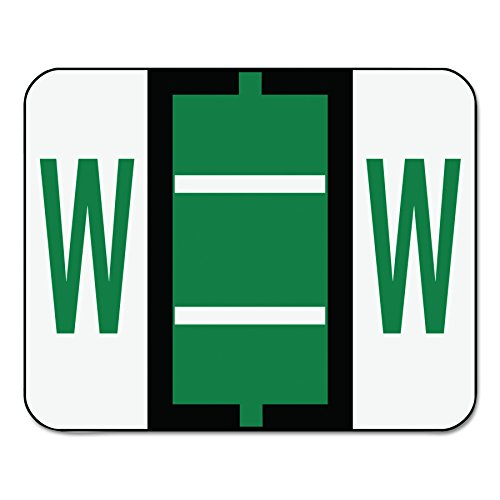 Smead BCCR Bar-Style Alphabetic Color-Coded Labels, Letter W, Dark Green/White Bars, 500 Labels per Roll (67093)
