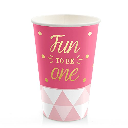 Big Dot of Happiness Fun to be One - 1st Birthday Girl with Gold Foil - Hot & Cold Drinking Cups (8 Count)