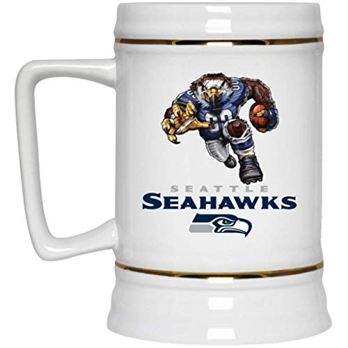 Seattle Seahawks Beer Mug Seahawks Sinister Player Beer Stein 22 oz White Ceramic Beer Cup NFL NFC Football Perfect Gift for any Seahawks Fan