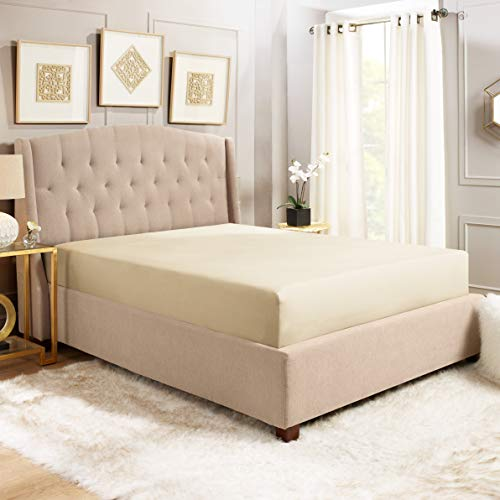 Empyrean Bedding 14 16 Deep Pocket Fitted Sheet For Standard Mattress Hotel Luxury Silky Soft Double Brushed Microfiber Sheet Hypoallergenic Wrinkle Free Cooling Bed Sheet Twin Xl Beige