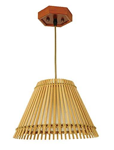 Liveinu Asian Bell Shape Handmade Bamboo Lamp Oriental Handcraft Ceiling  Pendant Lamp Yellow