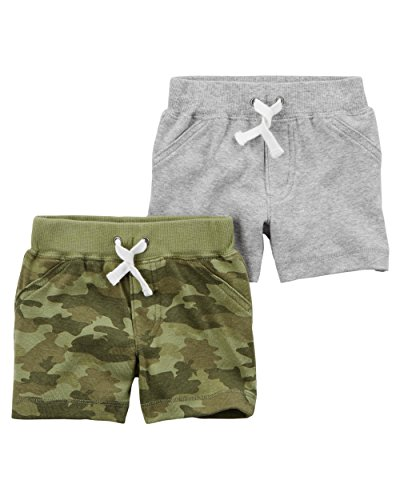 Carter's Baby Boys' 2 Pack Pants, Grey/Camo Shorts, 3 Months