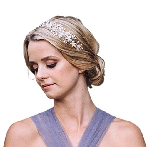 SWEETV Wedding Headband Silver Bohemian Headpiece Crystal Pearl Hair Vine Flower Halo Bridal Hair Accessories